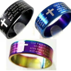 2 Lord's Prayer Stainless Steel Rings Unisex New
